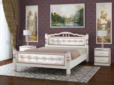 Кровать «Карина-11» дуб молочный, светлая экокожа