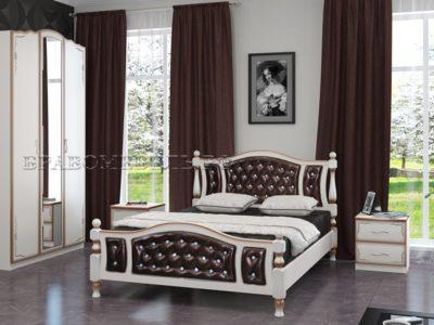 Кровать «Жасмин» дуб молочный, тёмная экокожа