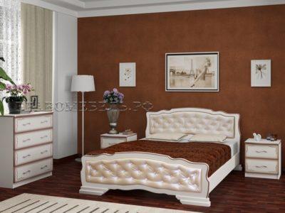 Кровать «Карина-10» дуб молочный, светлая экокожа