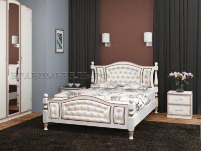 Кровать «Жасмин» дуб молочный, светлая экокожа