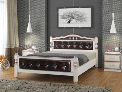 Кровать «Карина-11» дуб молочный, тёмная экокожа
