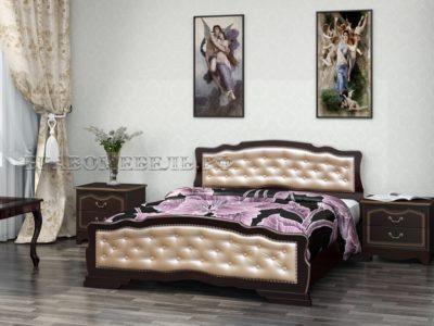 Кровать «Карина-10» орех тёмный с тонировкой, светлая экокожа