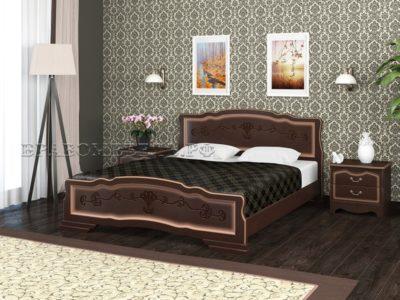 Кровать «Карина-6» орех тёмный с тонировкой